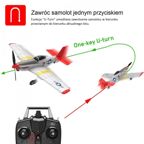 VolantexRC Mini Mustang P51D 4-Ch Beginner Airplane with Xpilot Stabilizer / One-key Aerobatic 761-5 RTF